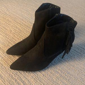 Lulu's black fringe booties